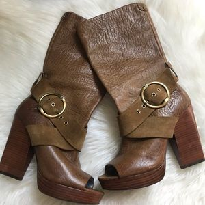 Lucky Brand Leather Open Toe Heel Boots Size 8
